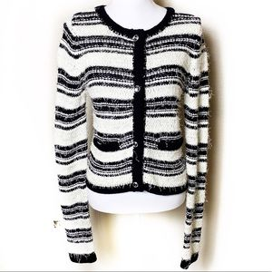 Alice + Olivia Fuzzy Striped Sweater Cardigan